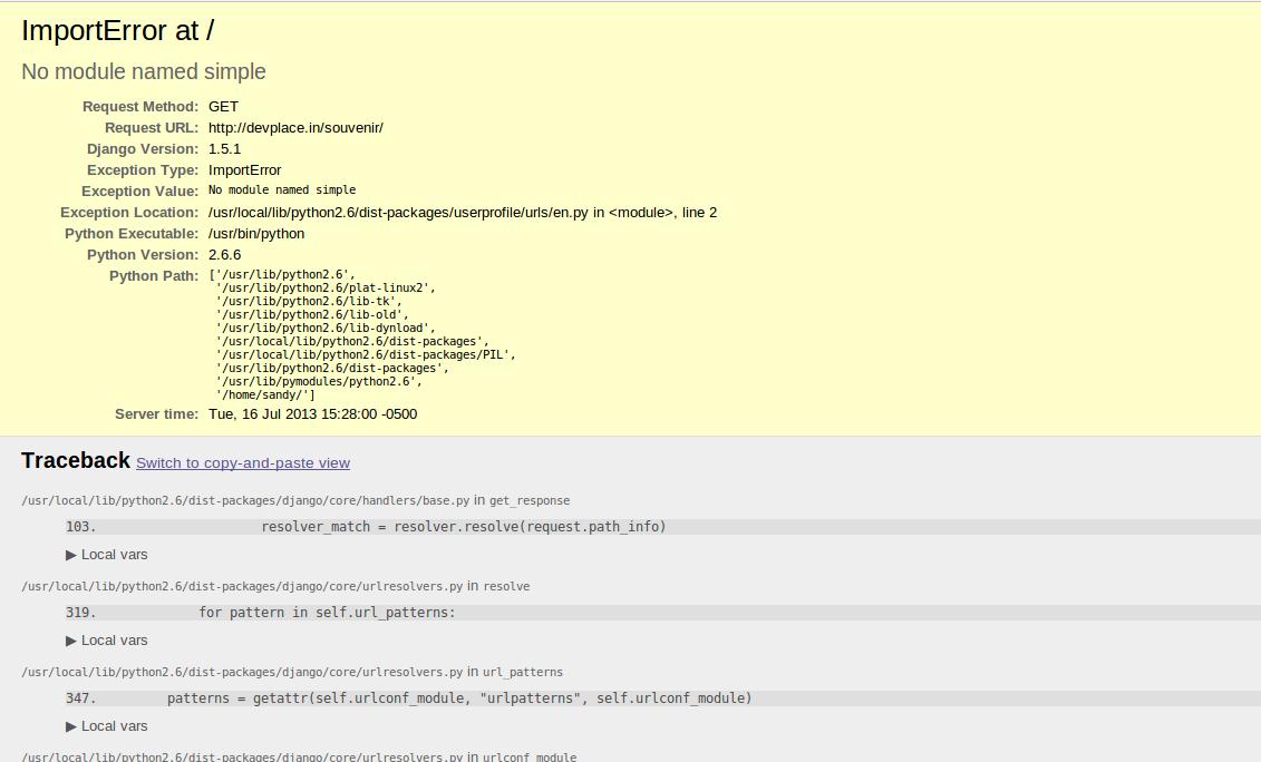 No module named simple (Django) | Sandy Madaan